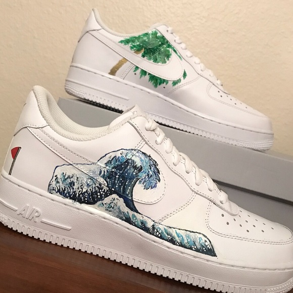 d70d847b6b4b6 Customized AirForce 1 custom painted Japanese wave NWT